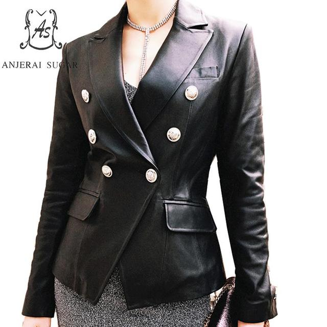 Sheepskin genuine leather jacket women coat Black female Turn-down Collar sexy OL metal button Double-breasted chaqueta mujer