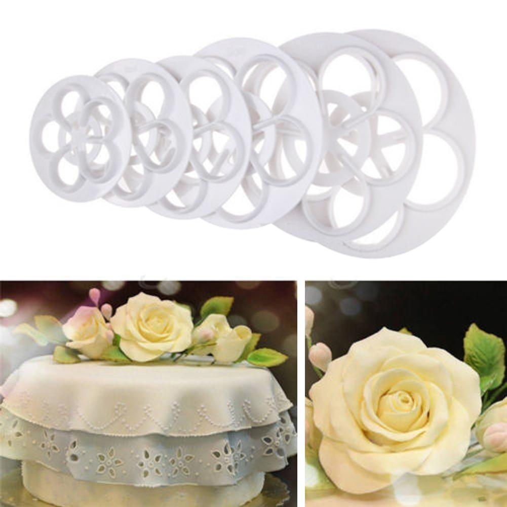 6 vnt / nustatyti plastikinių rožių gėlių tortų pelėsių gumbų pjaustymo pyragas Dekoravimo liejimo formos desertų kepimo sausainiai