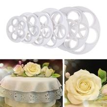 6 Pcs/Set Plastic Rose Flower Cake Mold Fondant Cutter Cake Decorating Molds Dessert Baking Biscuit Cutting Mould