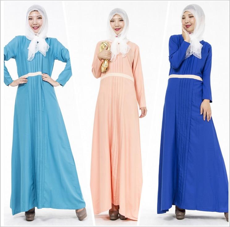 2016 Muslim Womens font b Abaya b font Dress O Neck Long Sleeve Floor Length Loose