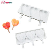 SHENHONG Heart Shaped Ice Cream Mold Makers Silicone Thick Material DIY Molds Ice Cube Moulds Dessert Molds Tray With Popsicle(China)