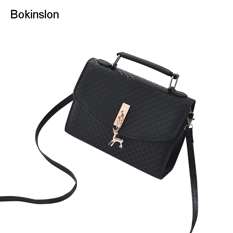 Bokinslon Small Square Bags Woman Casual PU Leather Ladies Handbags Bags Solid Color Popular Girls Shoulder Bags