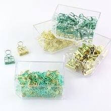 Золотой Зеленый цветной переплет скрепки для бумаги зажим офиса