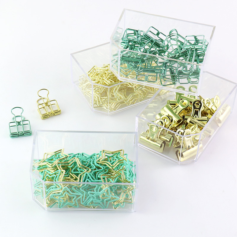 Gold Green Colored Thumbtack Binder Clips Paper Clip Clamp Office School Binding Supplies
