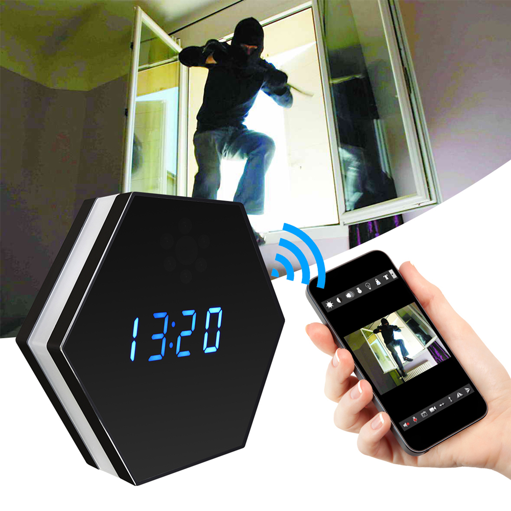 цена Table Clock Mini Camera Night Vision Electronic Clock Wireless WIFI Camera IP P2P CCTV TV Baby Monitor Home Security Monitoring