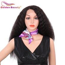 24 Inch Lange Brown Lace Front Synthetische Pruiken Voor Vrouwen Hittebestendige Natural Black Kinky Straight Haar Pruik Gouden Schoonheid