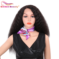 24inch Synthetic Lace Front Wig For Women Heat Resistant Natural Black Long Kinky Straight Hair Wig For Sale Golden Beauty