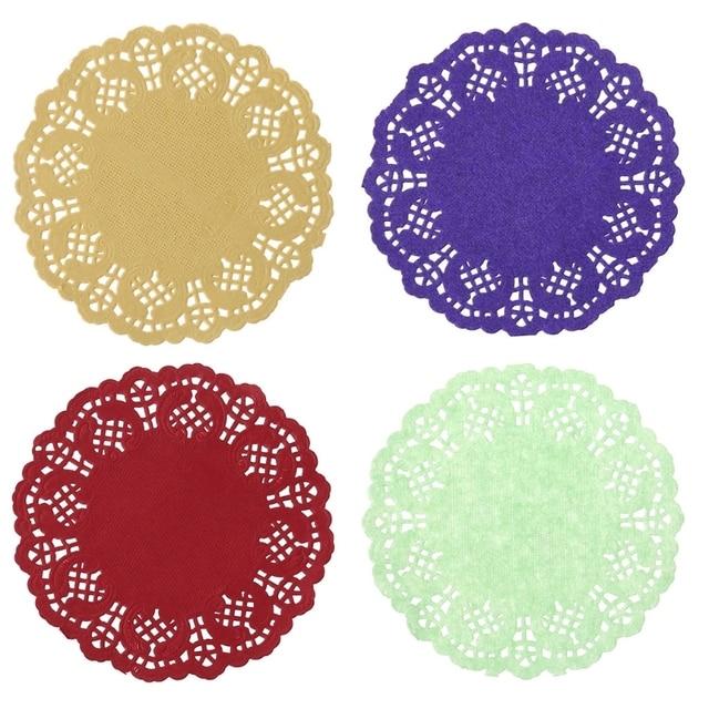 Thủ Công sáng tạo Đầy Màu Sắc Ren Giấy Thảm Đế Lót Ly Placemats Sự Kiện Đám Cưới Party Bảng Trang Trí Món Quà 100 cái/gói