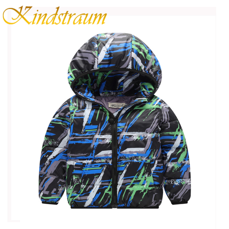 Kindstraum 2017 Fashion Kids Winter Jacket Cotton New Boys Girls Warm Hooded Coat Children Casual Dinosaur Outwear Printed,MC802 2016 winter thin down jacket fashion girls boys cotton hooded coat children s jacket outwear kids casual striped outwear 16a12