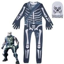 Schedel Paratrooper Cosplay Kostuum Kinderen Streetwear Kostuums Jongens Overalls Fortnited Cosplay Kinderen Halloween Feestelijke Evenin