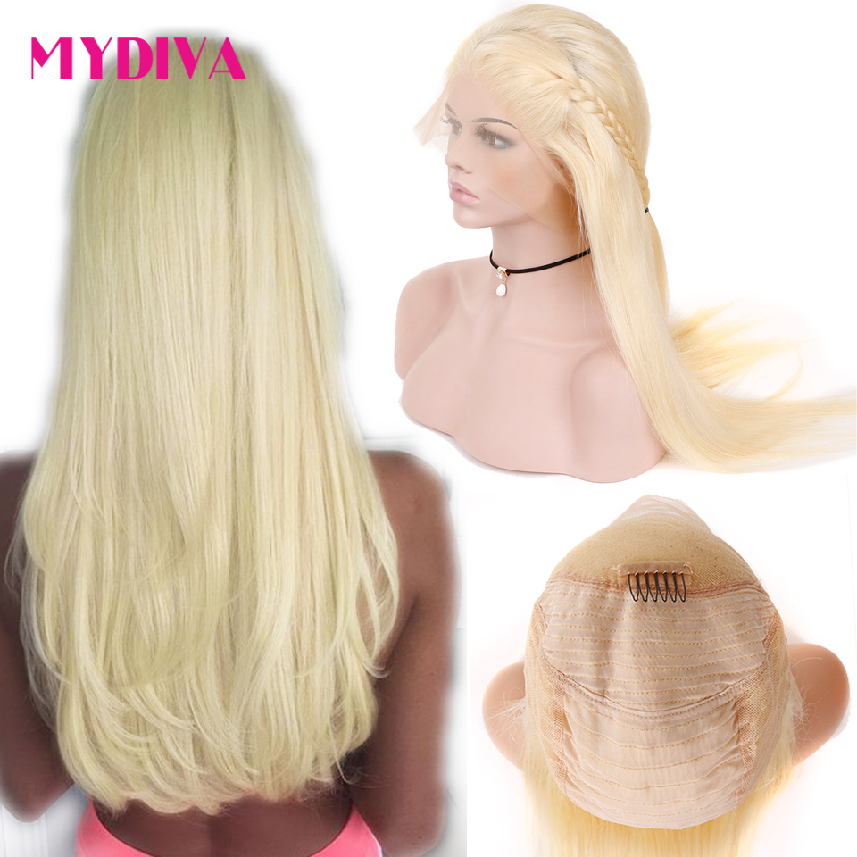 13x4 Lace Front Human Hair Wigs 613 Blonde Brazilian Straight Wig Pre Plucked With Baby Hair Natural Hairline Non Remy Mydiva