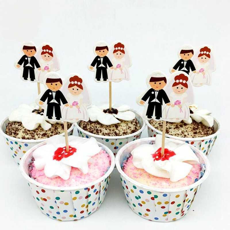 48 шт. свадебное платье жениха для невесты, костюм, украшения для кексов, романтическая годовщина, выпускной, для влюбленных, украшение для дня рождения, флаги для зубочистки