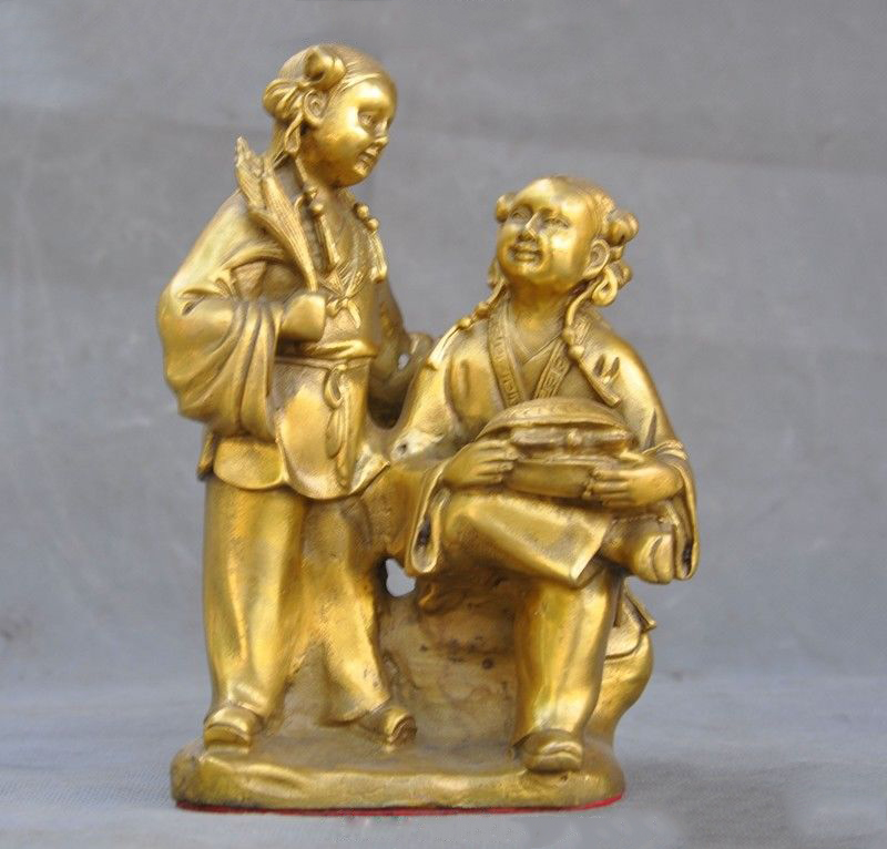Details about  8old Chinese brass folk fairy girl sisters statue  Details about  8old Chinese brass folk fairy girl sisters statue