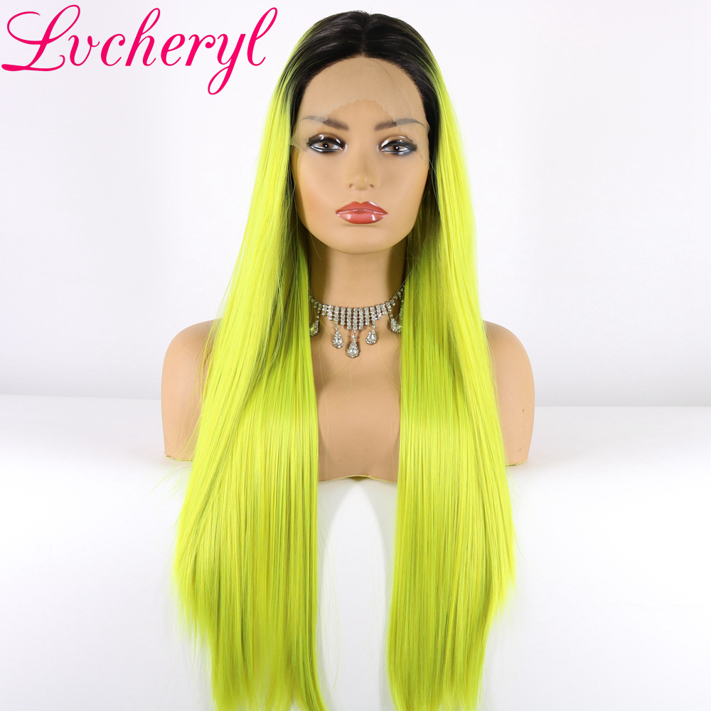Lvcheryl Synthetic Lace Front Wigs 1B Roots Ombre Yellow Green Mixed Hair Natural Long Silky Straight