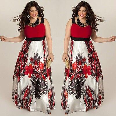 2016 New Hot Sale Plus Size AU 8-20 Floral Women Summer Boho Maxi Long Dress Red/Green Sleeveless Sundress