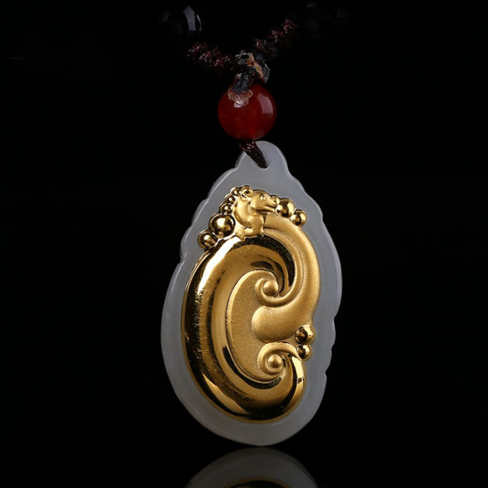 Chinese Ruyi Gold Jade Pendant For Men Women Jade Necklace Pendant White Hetian Gift High Quality купить недорого в Москве