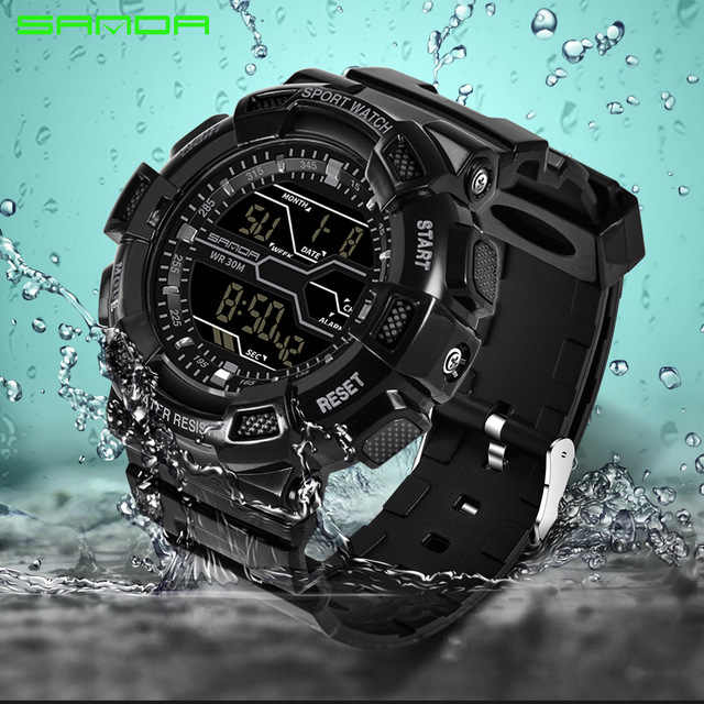a099044d124 2018 Hot Brand Mens Sports Watches LED Digital Clock Waterproof G Style  Shock Military Army Wristwatch