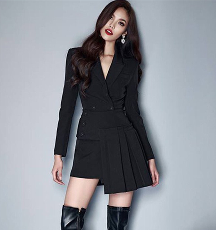 HAMALIEL Runway Designer Women Skirt Suits Fall Winter Black Double Breasted Blazer Coat + Irregular Pleated Skirt Set Vestidos