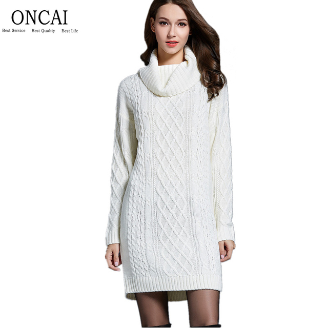 f703b7534ad Autumn Winter Knit Dress Women Turtleneck Knitted Knee-Length Maxi Sweater  Dress Loose Solid Lapel High Neck Sweater Dresses