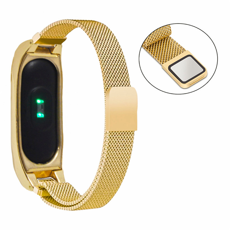 Watch Strap Watch Band+Protective shell For Xiaomi Mi Band 2 Stainless Steel Luxury Wristband Metal Ultrathin New Strap H35 #0