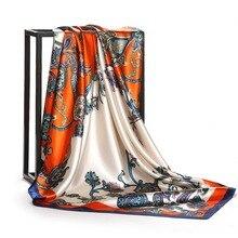 2018 Summer Red Silk Print Scarf Women Luxury Designer Bandana Vintage Satin Square Head Scarves Hijab Shawl New Female Foulard