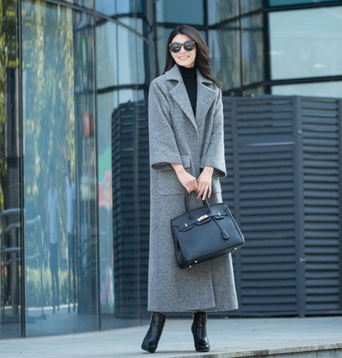 2018 new style loose cuff lengthened wool coat