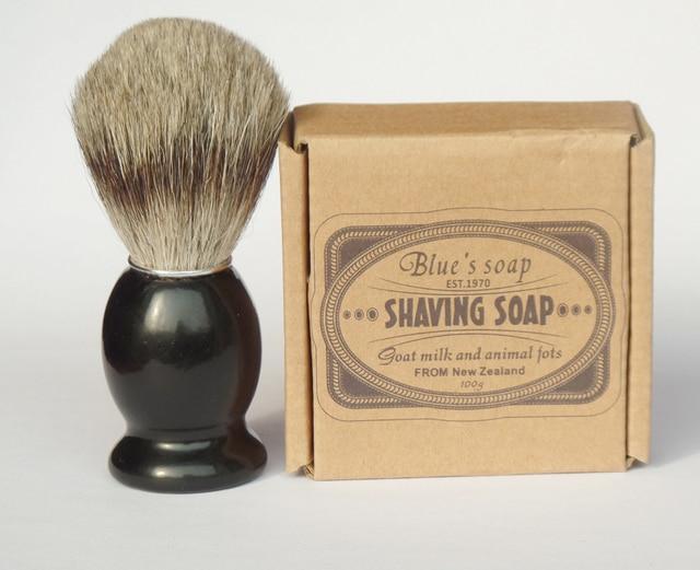 2pc/set Wood Handle Badger Hair Shaving Beard Brush with Men Razor Shave Soap