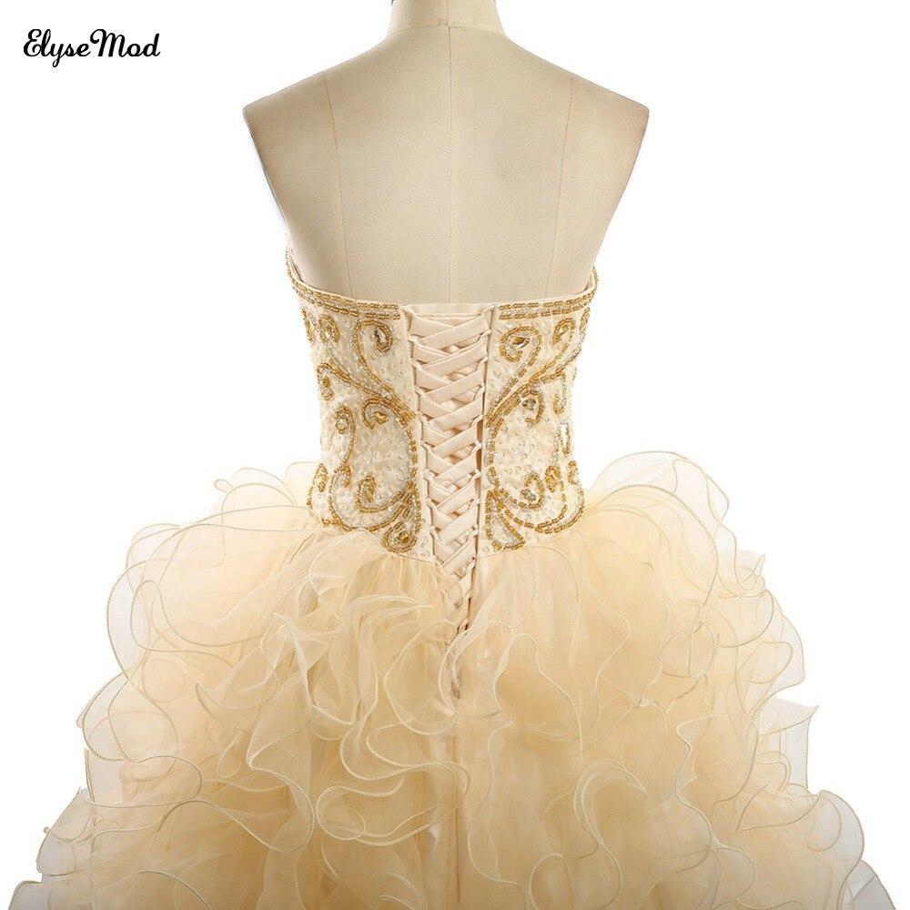 Offre spéciale robe de bal Champagne dentelle chérie robes de grande taille de bal pour 2018 femmes bal à volants robe perlée livraison gratuite - 6