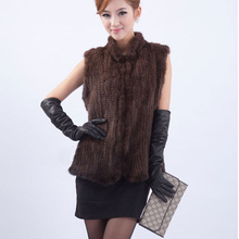 2016 New Fashion Genuine Mink Fur Vest/Waistcoat For Women Hot Sale natural Knitted Mink Fur jacket black brown  Free shipping