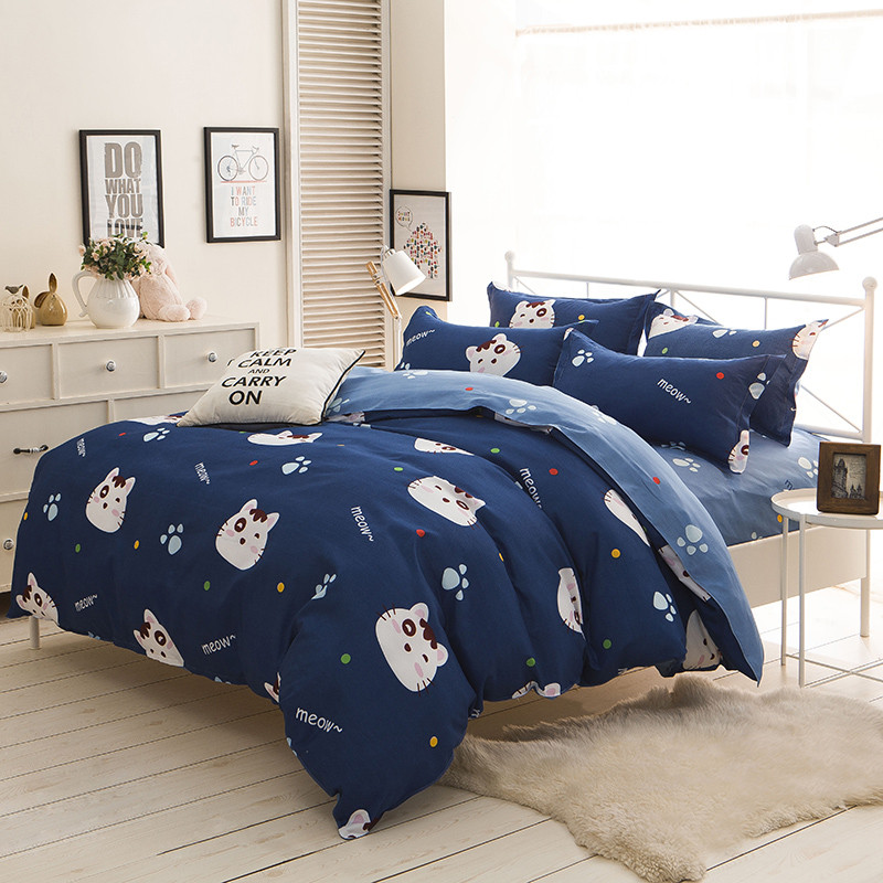 Cute Cats Bedding Set Cartoon Style Kids Students Home