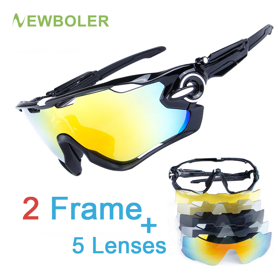 NEWBOLER 2 Frame Polarized Fishing glasses Outdoor Sport fishing Sunglasses Men TR90 UV400 Fishing Eyewear 5 Lens