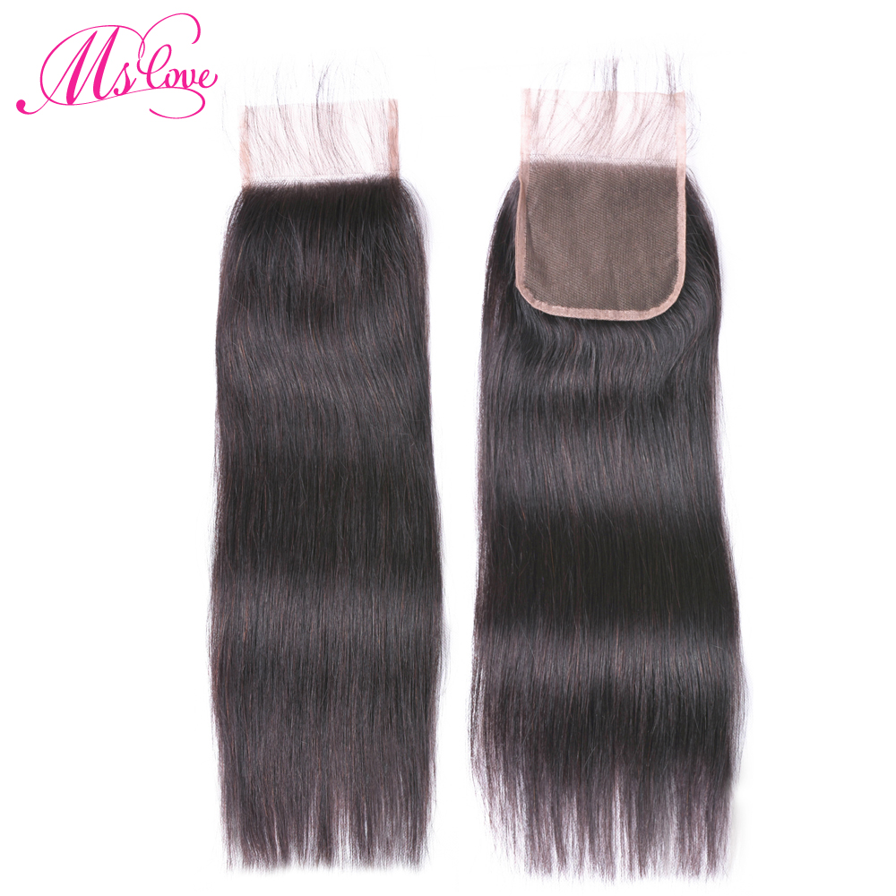 Ms Love Brazilian  Hair Body Wave Lace Closure Free/Middle/Three Part Human Hair Lace Closure 4x4 Inch Non Remy