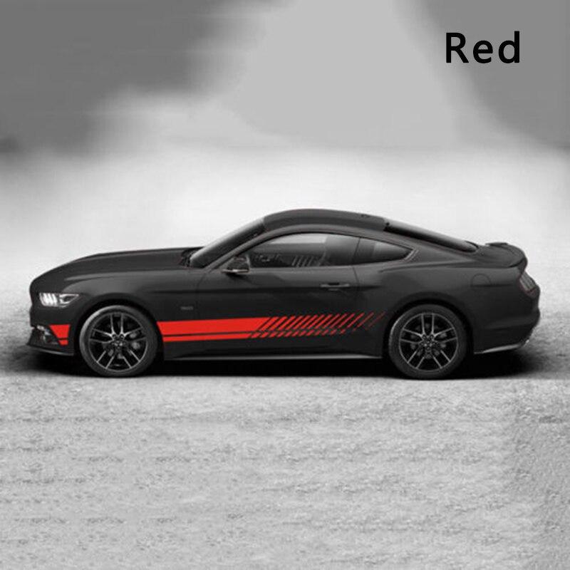 2 pcs Sport Racing Stripe Graphique Autocollants Étanche Auto-adhésif Auto Voiture Corps Côté Porte Vinyle Stickers Rouge/ blanc/Noir