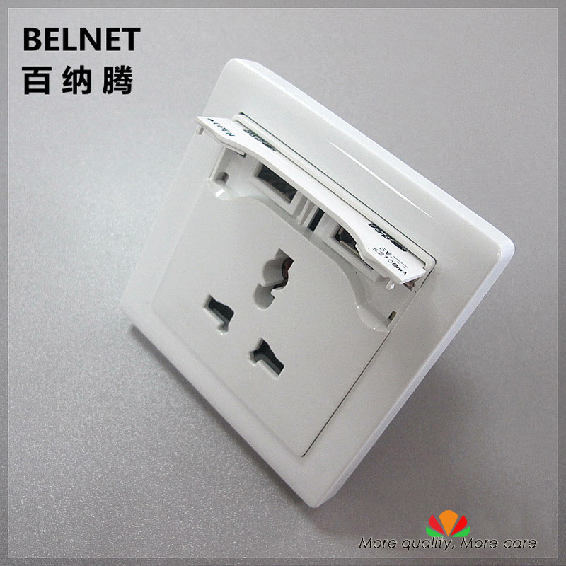 2-ports USB charger UNIVERSAL wall socket 2A fast charge for iPad smartphone Tablet Versatile Three hole socket UL EU outlet
