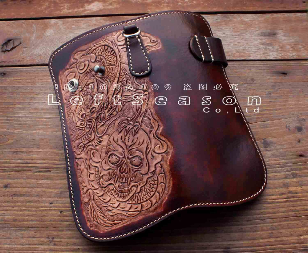 Dragon Skull Motorcylce Biker Cow Leather Card Holder Handmade Wallet With Chain
