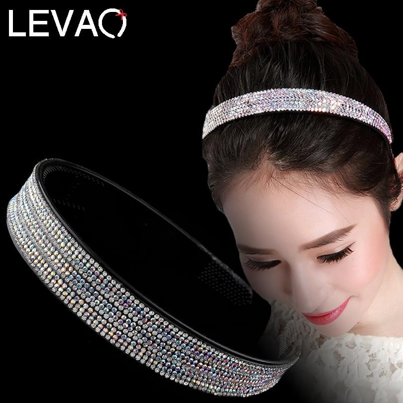LEVAO Full Rhinestone Hairband for Women Boutique Crystal Hair Hoops Shiny Bezel Headband Wedding Headwear Party Accessories