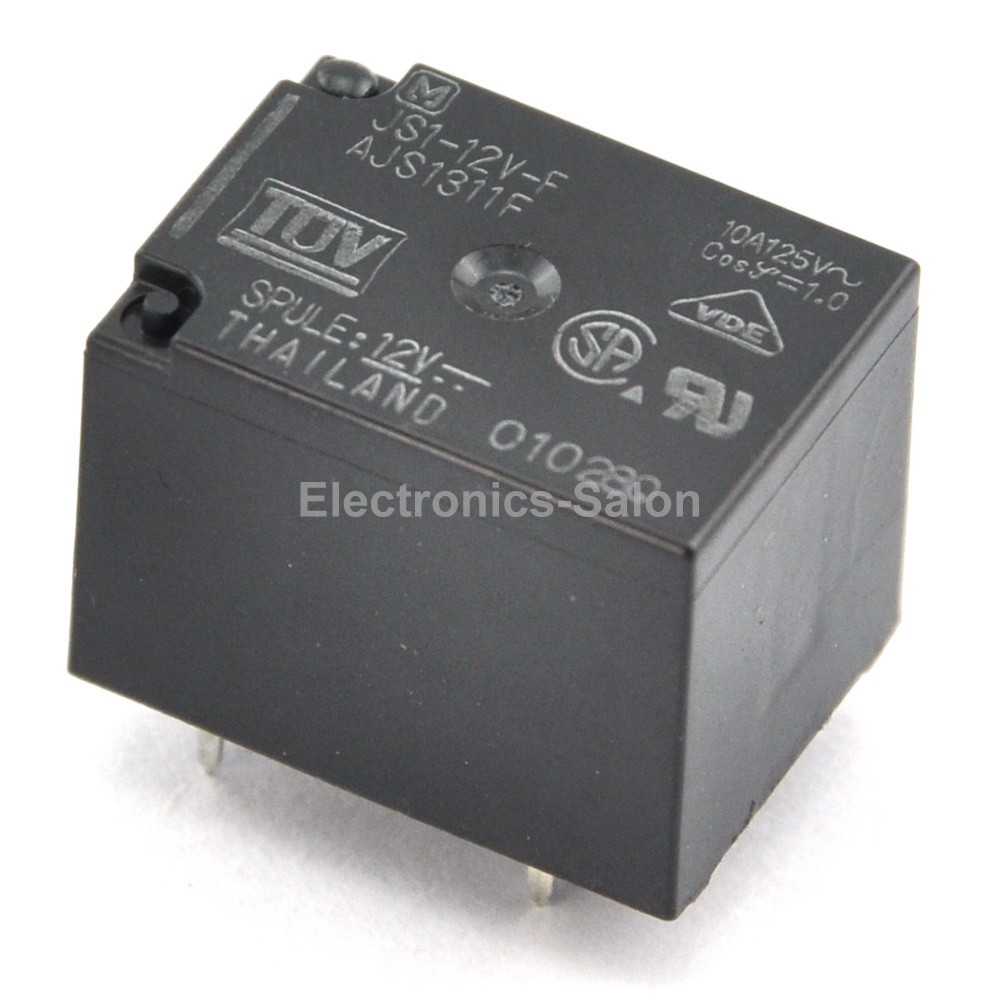 ( 2 Pcs/lot )  JS1-12V-F 10A Cubic Type Power Relay, SPDT / 1 Form C, DC 12V.