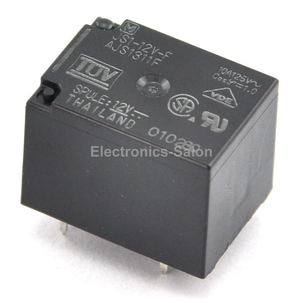 ( 2 Pcs/lot )  JS1-12V-F 10A Cubic Type Power Relay, SPDT / 1 Form C, DC 12V.