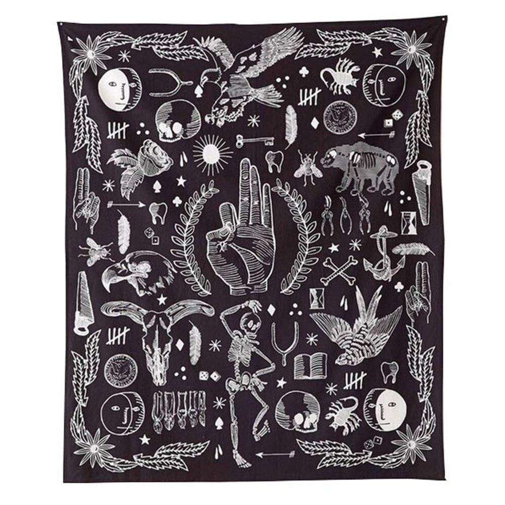 OK eagle bear rose flower wall hanging tapestry 2017 new design Black White fashion boho tapestry