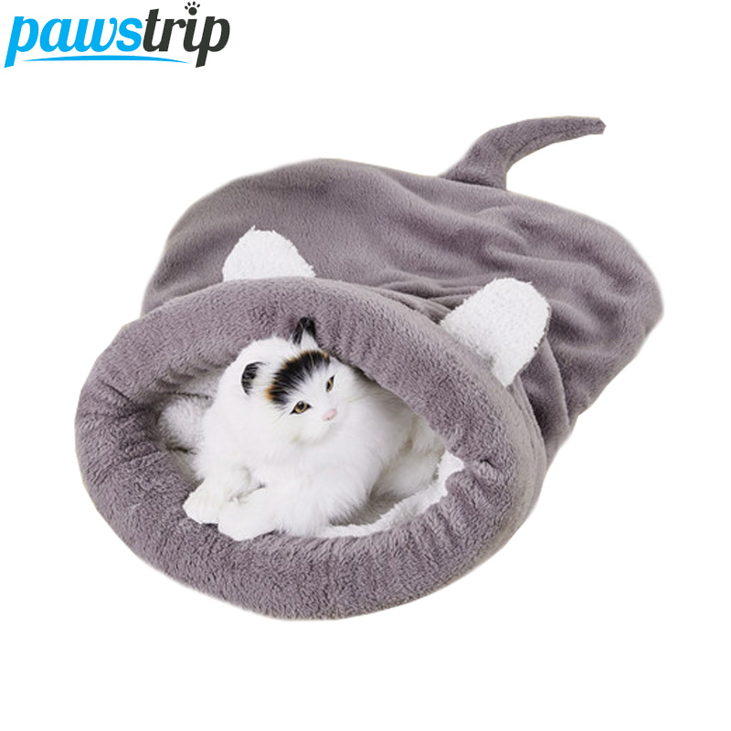 Pawstrip Cute Pet Cat Sleeping Bag Soft Fleece Small Dog Beds Winter Warm Cat Bed House M/l