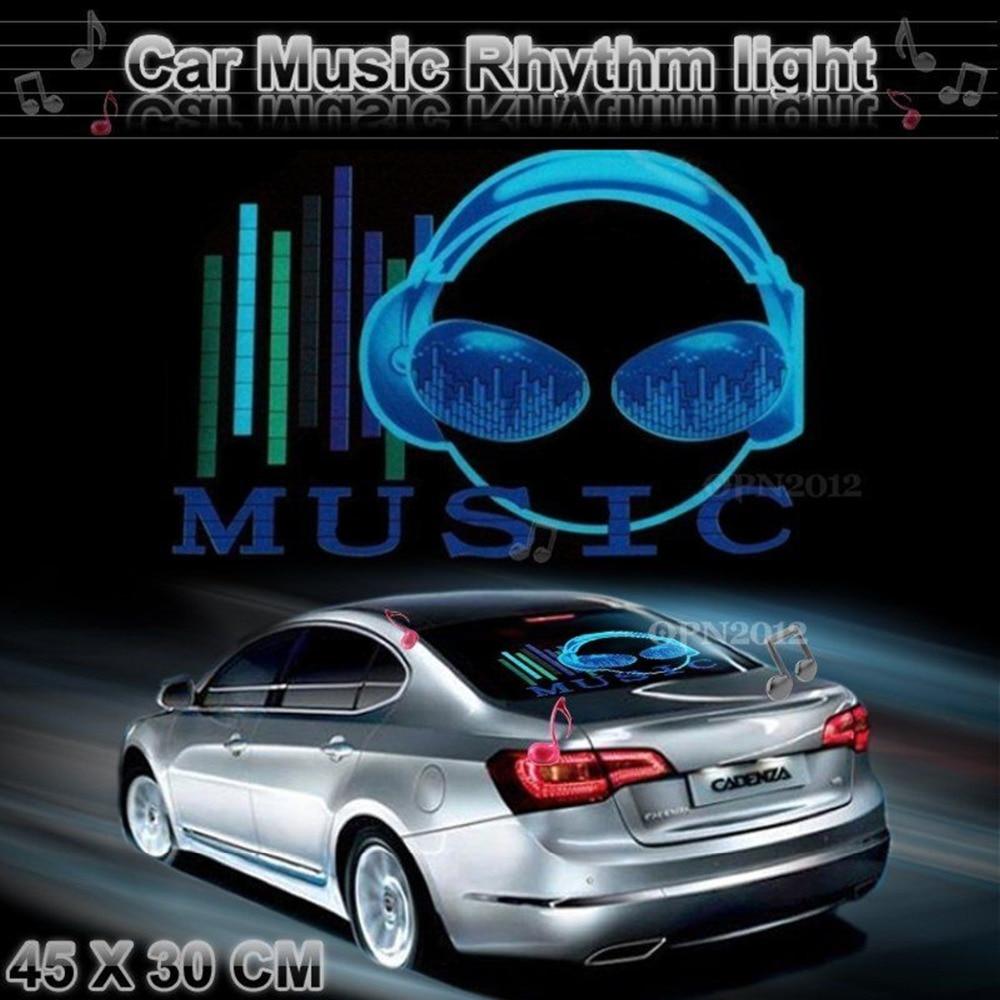 Blue car sticker design - 45x30cm Car Sticker Led El Sound Activated Equalizer Glow Flash Panel Multi Colour Light Music Rhythm