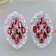 ZHE FAN Luxury Big Stud Earrings Classic Red AAA Cubic Zirconia Copper Jewelry Gift Women Beloved Cocktail Party Hollow Earring