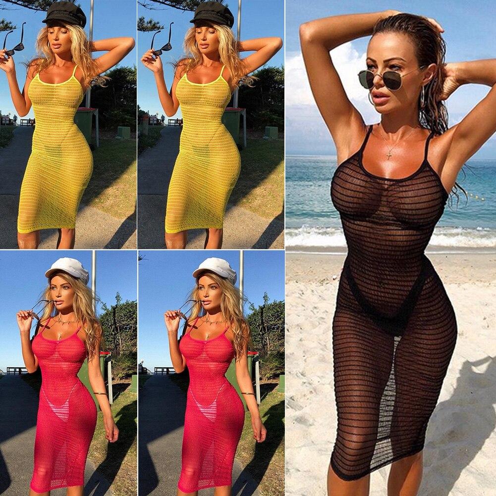 Hot 2019 Women's Bikini Long Cover Up Beach Dress Cardigan Mesh Summer Beach Transparent Dress Solid Color HOT SALE