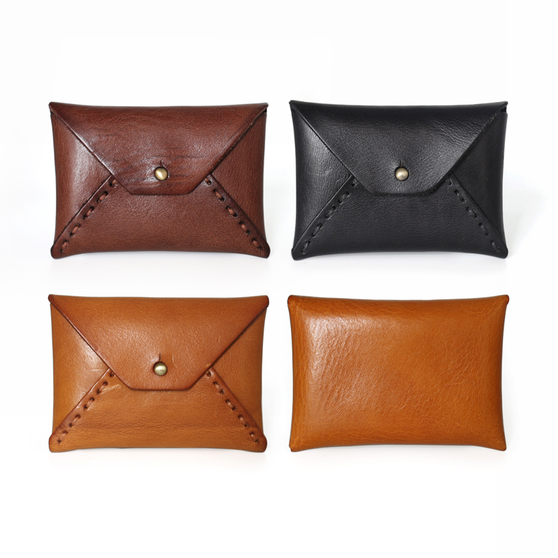 Coin purse Retro Business card case Genuine Leather Vintage name ...