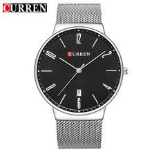 C URRENควอทซ์ใหม่ของผู้ชายRelógio Masculinosหน้าปัดนาฬิกาบางเฉียบชายนาฬิกาข้อมือกันน้ำปฏิทินนาฬิกาเหล็กธุรกิจ