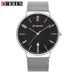 Image 1 - CURREN New Mens Quartz Relogio Masculinos Dial Clock Ultra thin Male Wrist Watch Calendar Waterproof Business Steel Watches