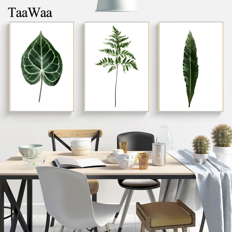 TAAWAA Green Plant Canvas Leaves Painting Posters and Prints Wall Art Nordic Style Decorative Picture Living Room Decor