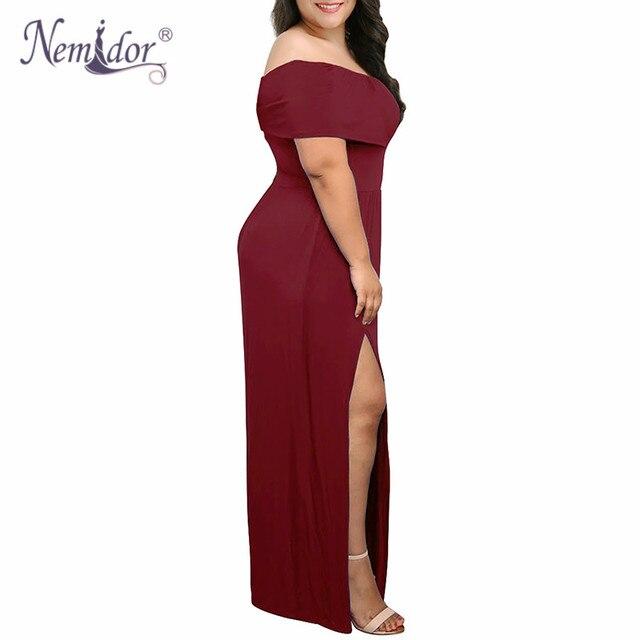 Nemidor 2018 New Arrival Women Sexy Off The Shoulder Party Split Long Dress Vintage Slash Neck Plus Size 7XL 8XL 9XL Maxi Dress 3