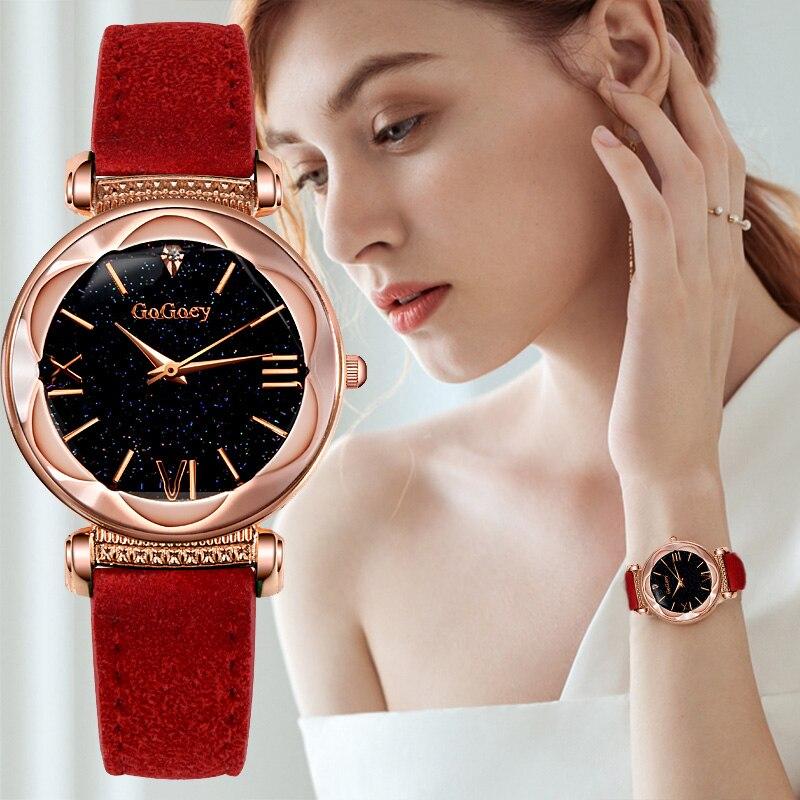 b9c9c4dc362e Nueva manera Gogoey marca de oro rosa reloj de cuero mujeres de lujo cielo  estrellado relojes señoras vestido de cuarzo reloj mujer