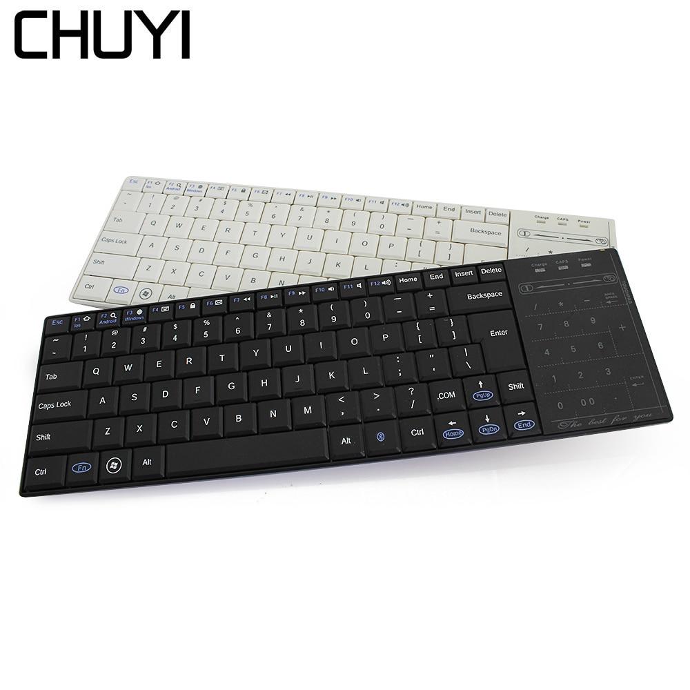 CHUYI professionnel Ultra-mince sans fil ciseaux clavier Bluetooth 3.0 clavier TouchPad Teclado pour iPad série iOS système téléphone
